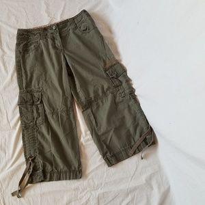 CAbi khaki army green cargo Capri pants 8